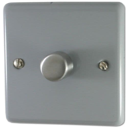 G&H CLG15 Standard Plate Light Grey 1 Gang 1 or 2 Way 700W Dimmer Switch Single Plate